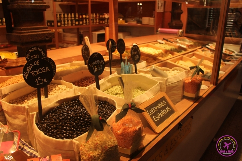 Display of food from the Mercado de San Miguel.