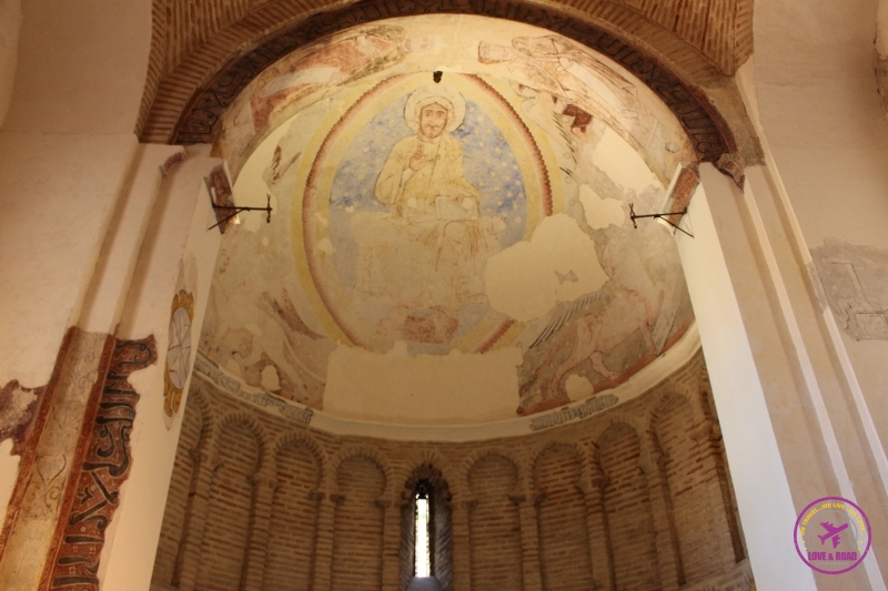 You can see the different lays of paintings inside the Cristo de la Luz Mosque.