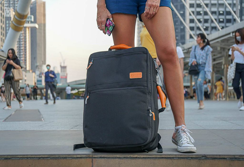 A cool feature of Standard Luggage is that you can use it as a carry-on travel backpack, a cabin suitcase or a messenger bag.