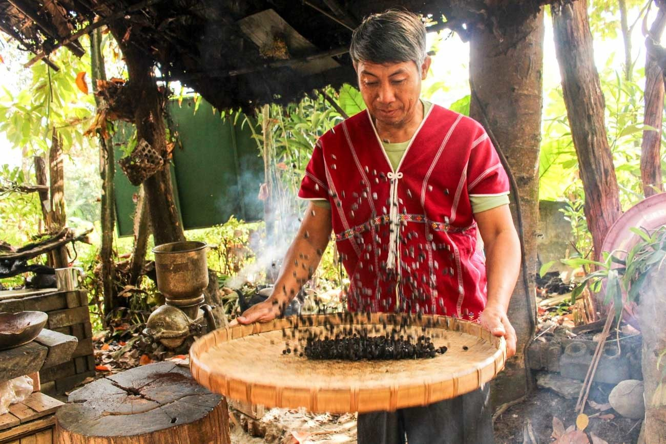 Man handling coffee beans in Chiang Mai village.