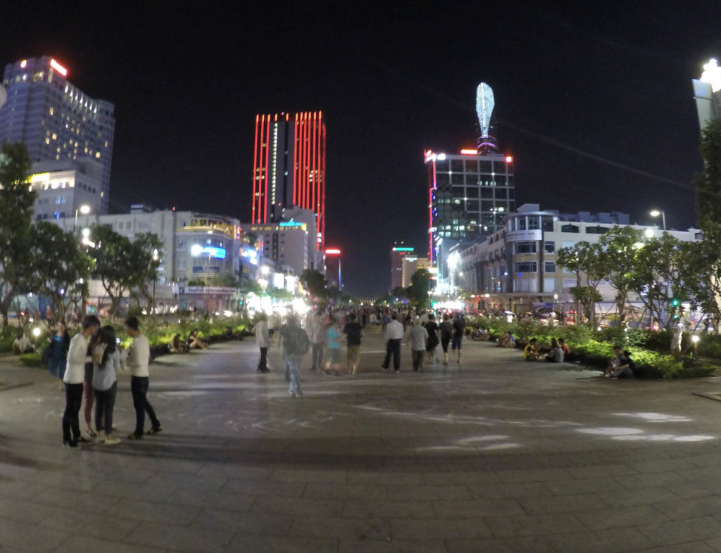 On of the things to do in Saigon is to explore the Nguyen Hue walking street by night!