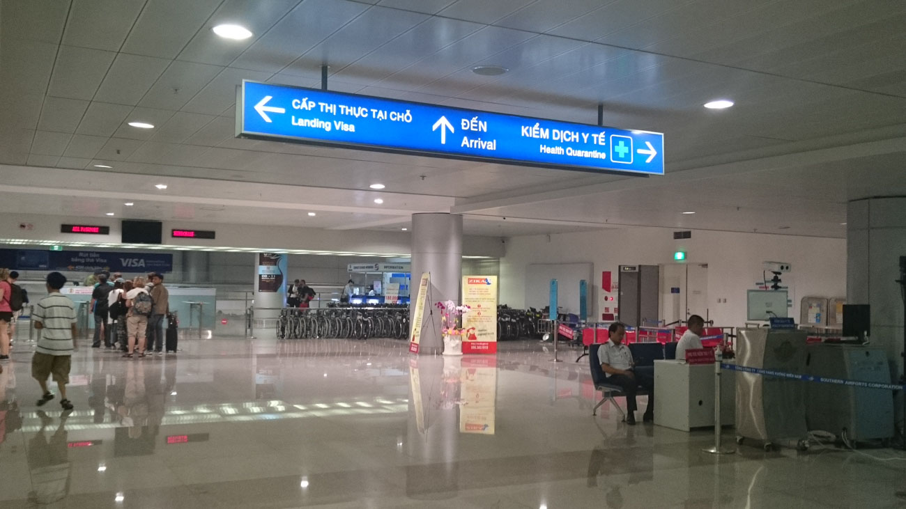 To get the Vietnam Tourist visa on arrival you must follow the signs to the Landing Visa area.