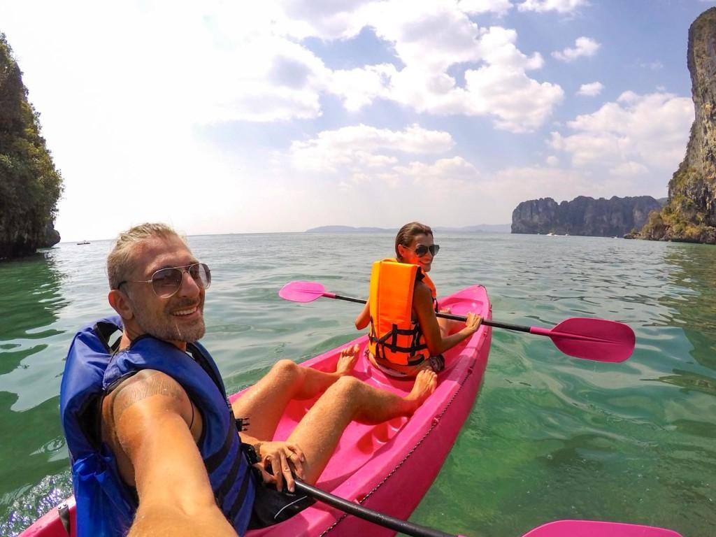 Lua de mel na Tailândia em Aonang. Passeio de kayak.