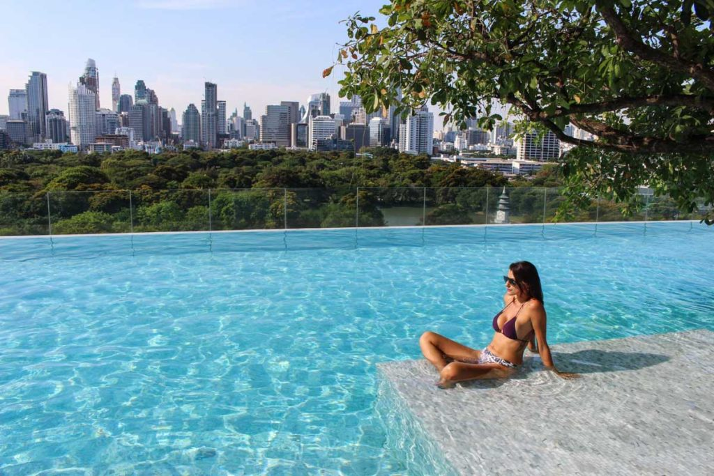 One of the unique and cool things to do in Bangkok is stay at top hotel and enjoy the amazing views from Lumpini Park and the city skyline!