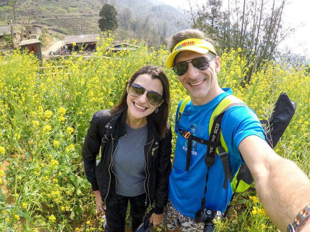 The trekking in Sapa mountains is not only about rice fields, along the way you will find beautiful flower gardens.
