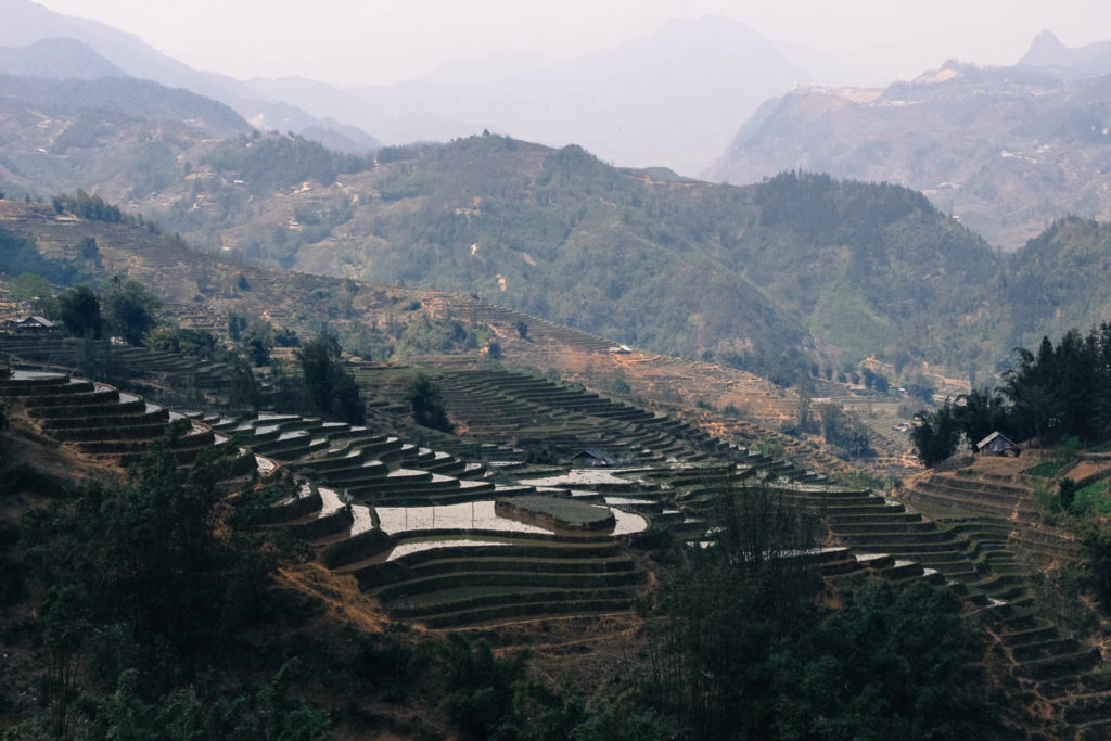 The amazing view you can have while trekking in Sapa Mountains, Vietnam. Hills and rice terraces as far as the eye can see.
