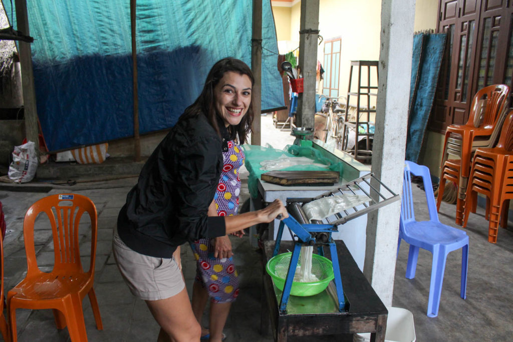 Preparing dinner with a local family during our Hoi An Vespa Tour!