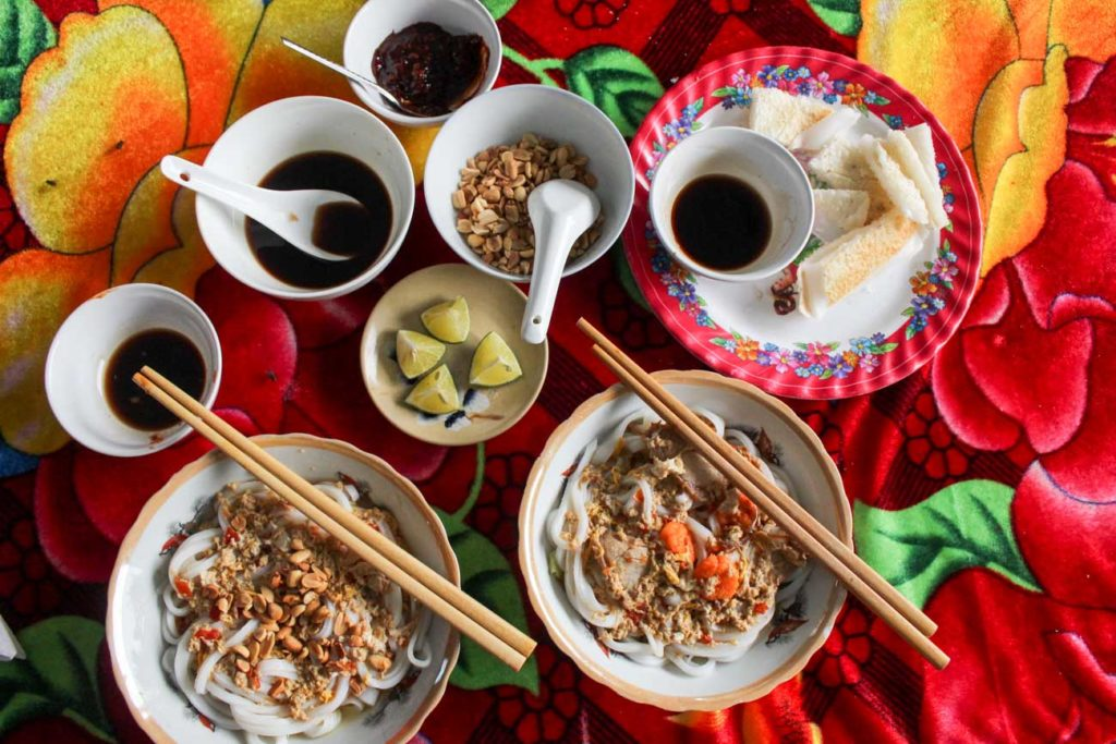 Food Time! We tried delicious local food during our Hoi An Vespa Tour.