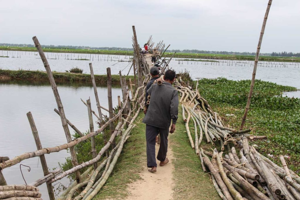 The Bamboo Bridge was one of the interesting attraction of our Hoi An Vespa Tour