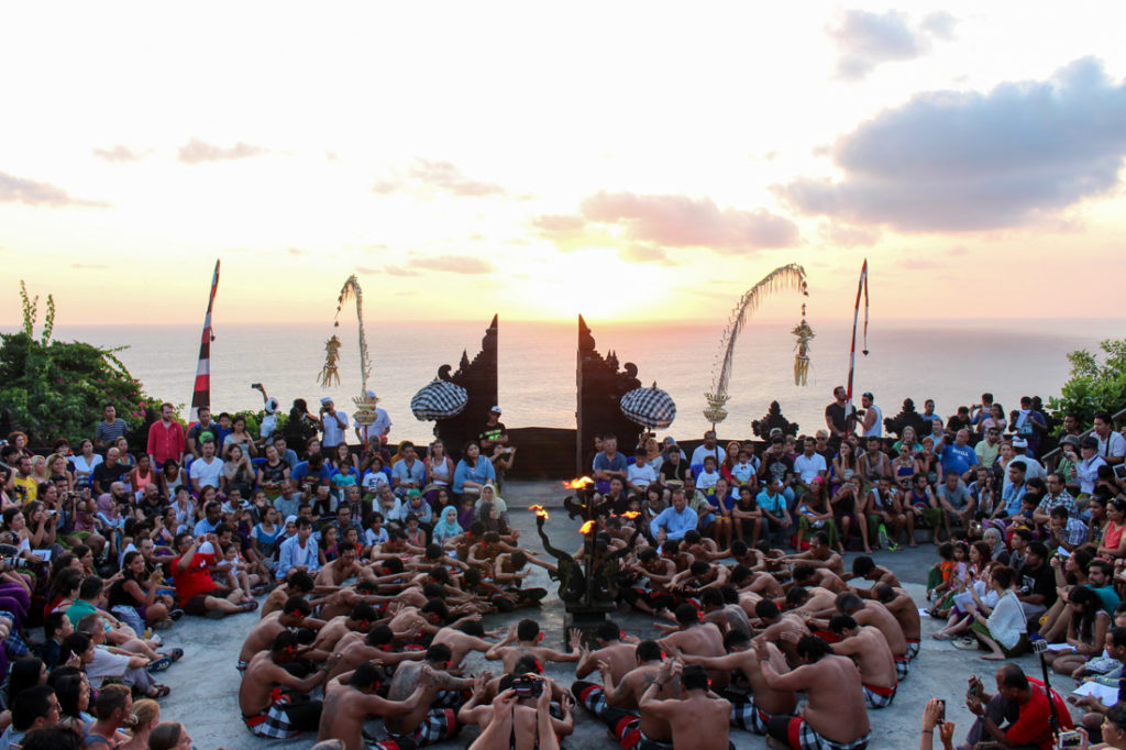 Uluwatu Temple is one of Bali top attractions, go there during sunset and one of the cool things to do in Bali is to watch the Kecak dance.