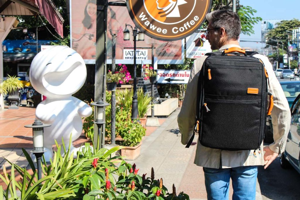 Rob with our best backpack for travel in Chiang Mai, Thailand.