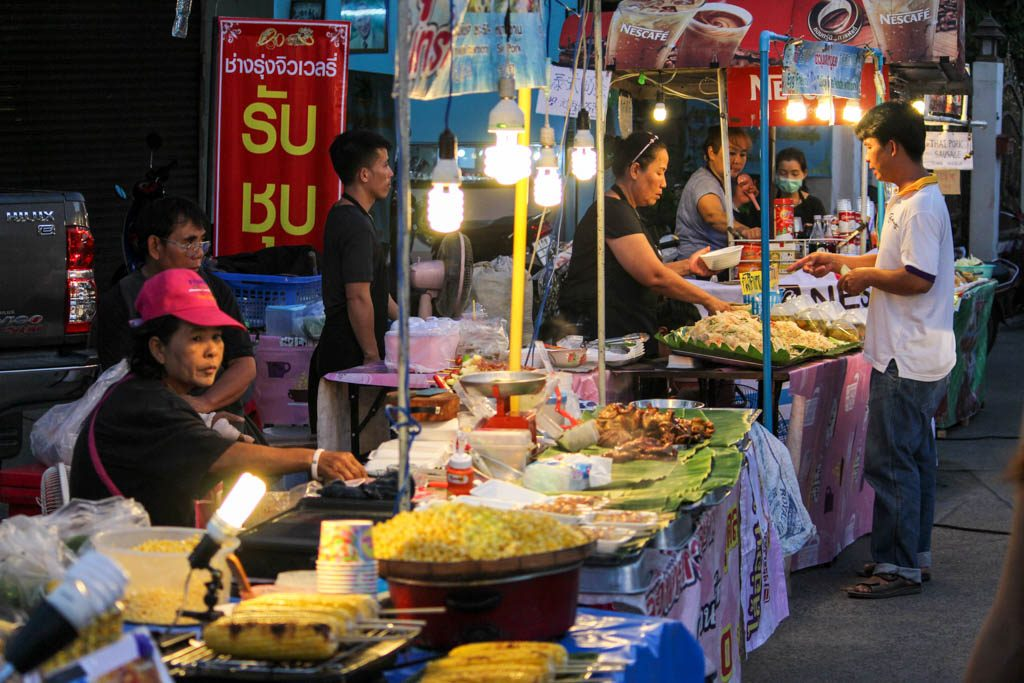 What to do in Chiang Mai at night? Visit the markets for delicious street food.