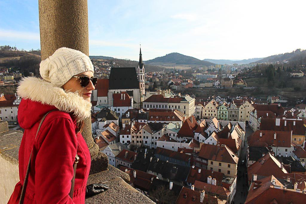 One of the unmissable things to do in Český Krumlov is to climb the castle tower. The view is stunning.