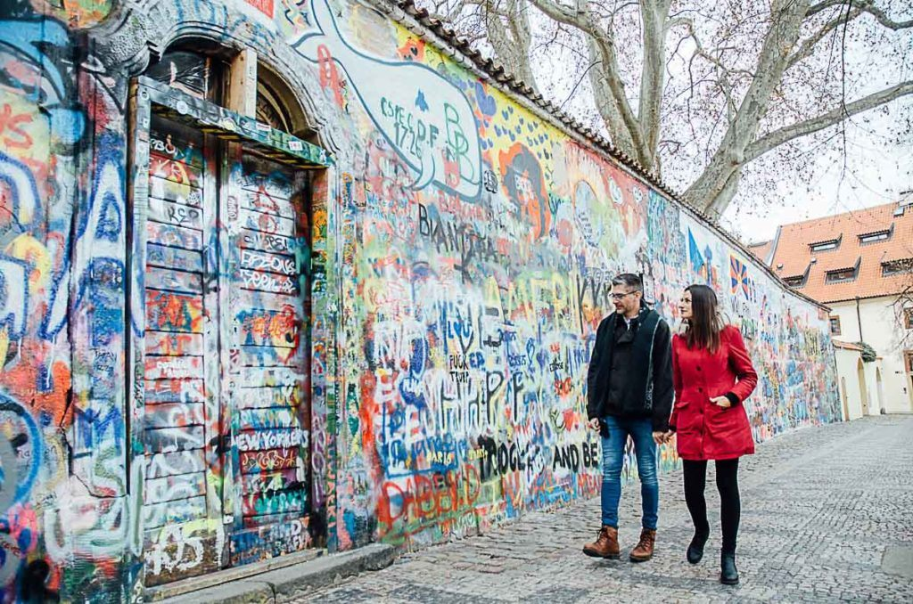The John Lennon Wall is one of the cool things to visit in Prague and a greta spot for photos.