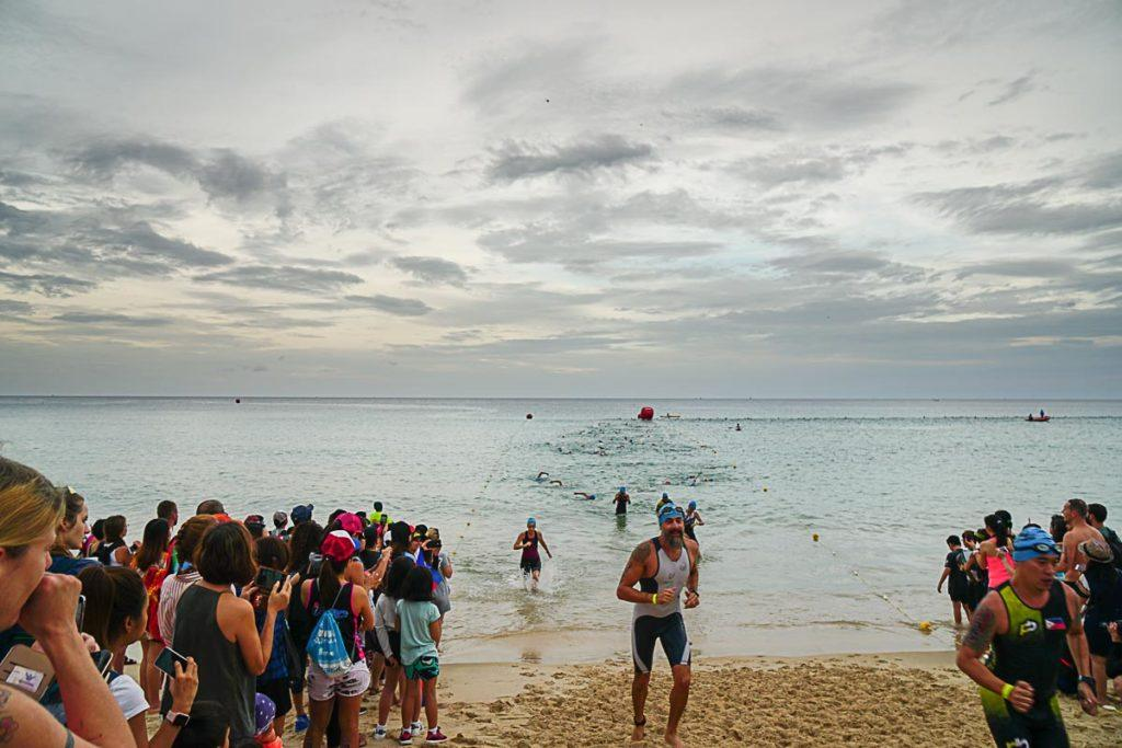 Swimming at Bang Tao Beach was the first leg of Ironman Thailand.