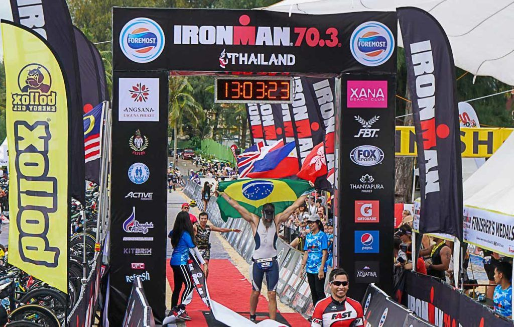 Mission Accomplished! Crossing the finishing line of Ironman Thailand in Phuket.
