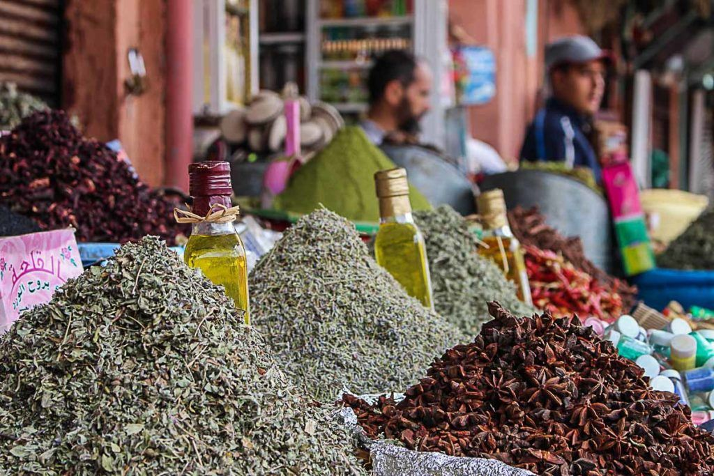 Herbs and spices, flavors from Morocco.