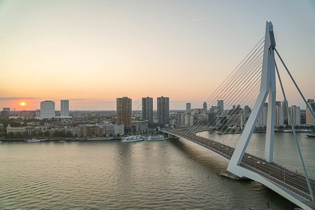 Erasmus Bridge is one of the coolest photo spots in Rotterdam. From the top, from the rivers banks or from a boat, there are endless possibilities to get that perfect shot.