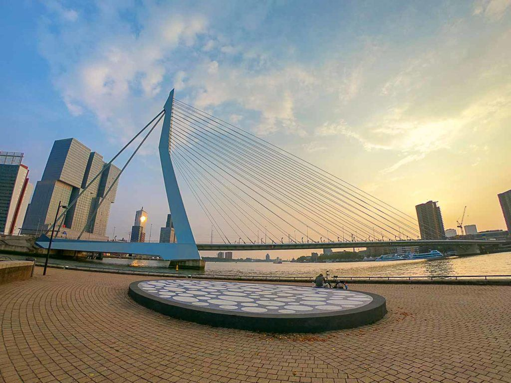 Erasmus Bridge, the iconic Rotterdam attraction is even more stunning when admired by water.