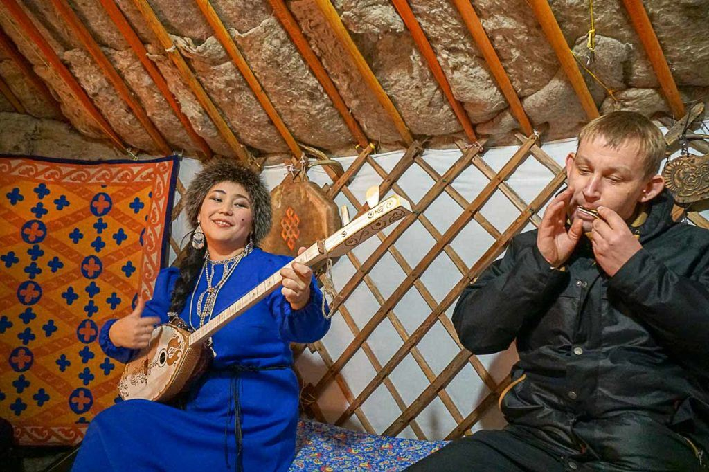 We learned how to play the jew's harp a traditional instrument form the Altai People.