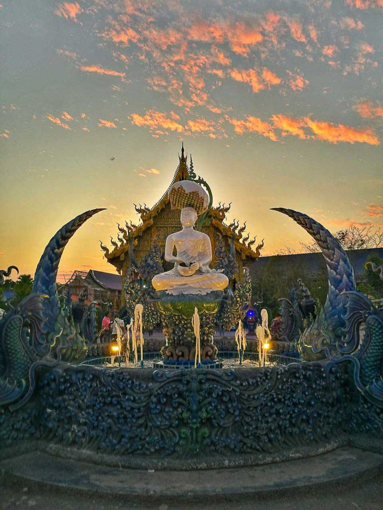 The Blue Temple is one of the most visited temples in Chiang Rai and the sunset there is beautiful.