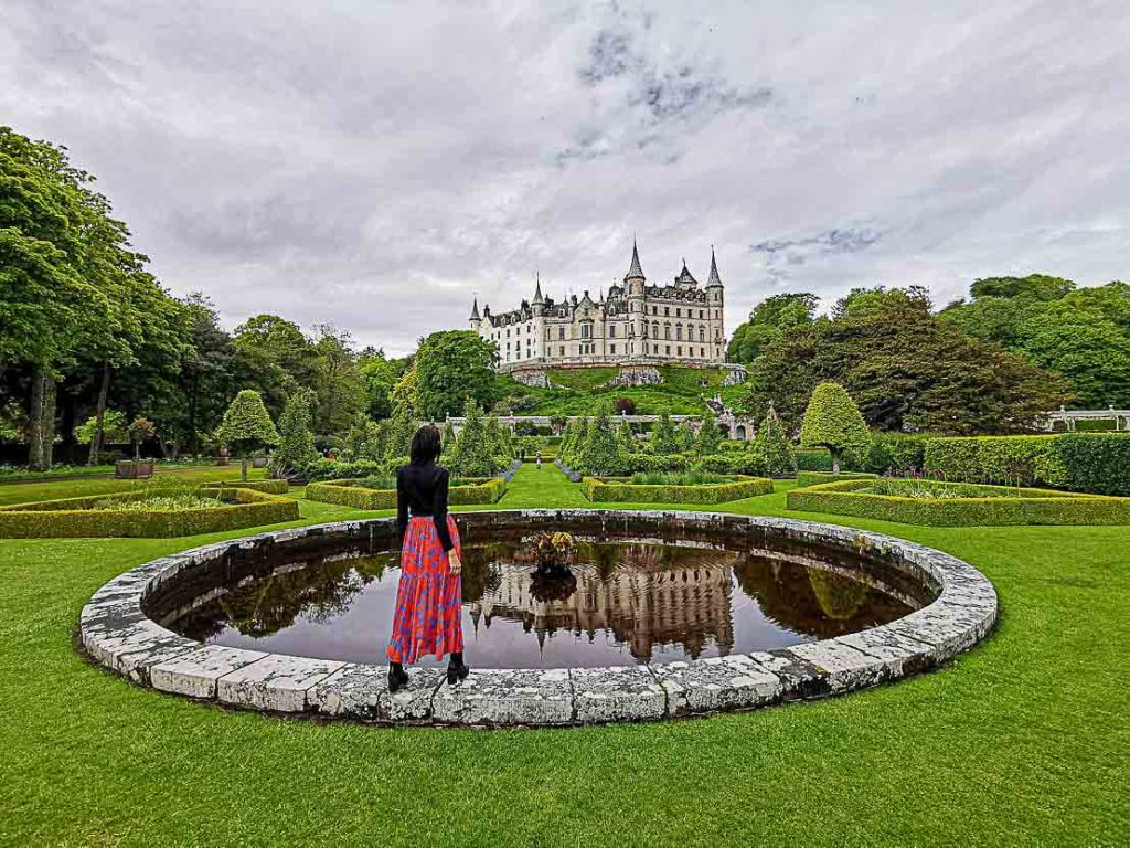 Dunrobin Castle has an enormous garden and the architecture resembles a French Chateau.