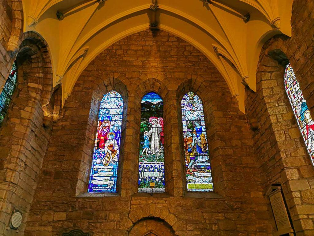 The stained glasses of Dornoch Cathedral are stunning and full of colors.