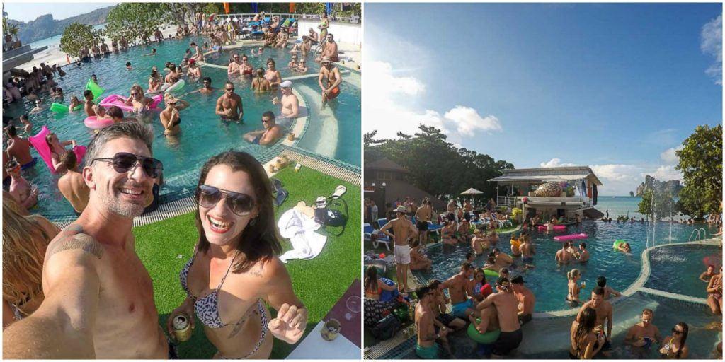 casal fazendo festa em pool party de Phi Phi