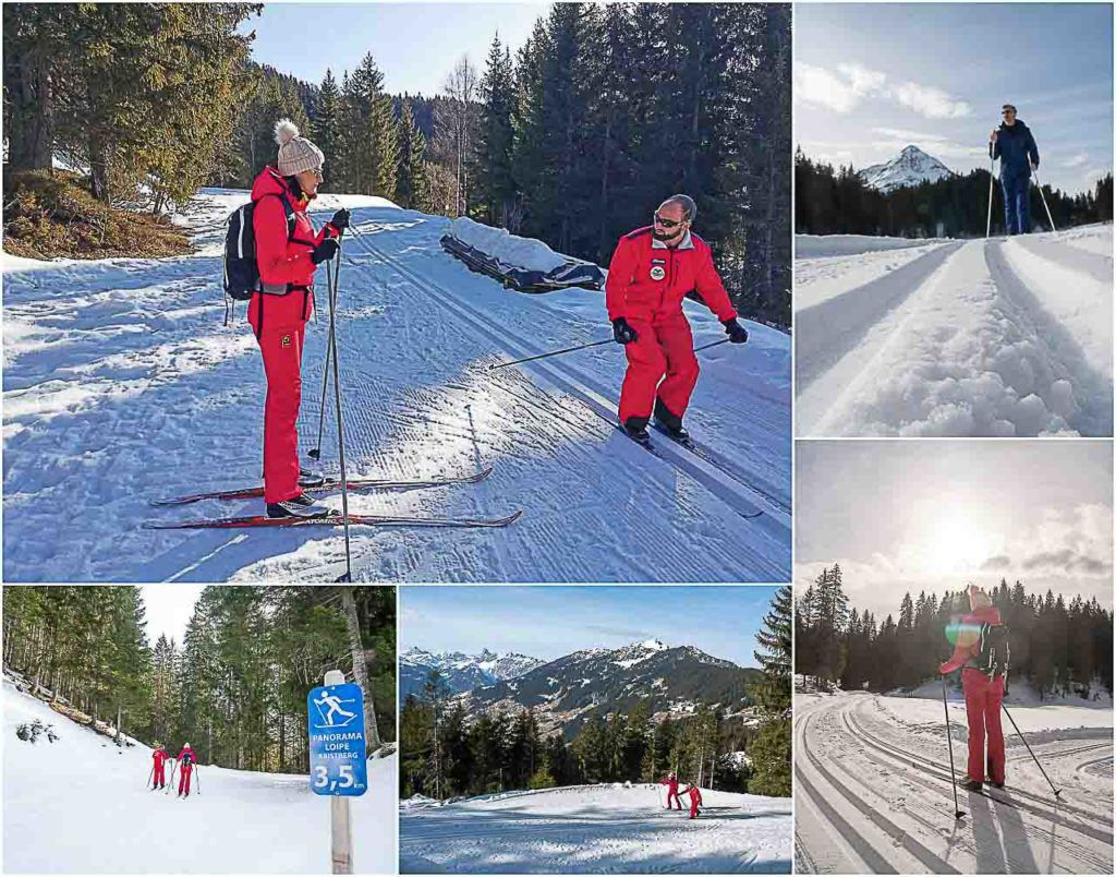 Couple learning cross-country ski in the Montafon region.
