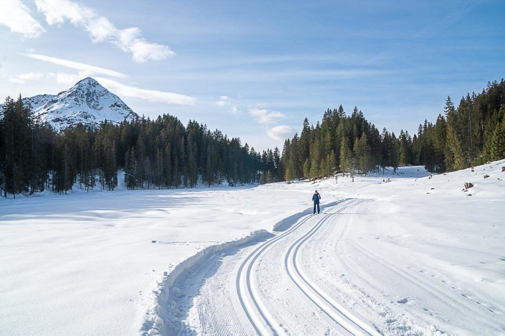 Traveler practicing cross-country ski in Montafon.