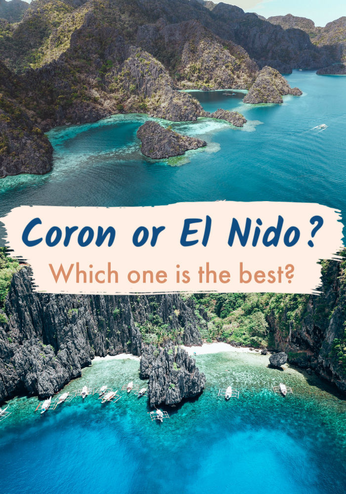 It was hard, but we did our best comparing Coron vs. El Nido. These two islands in Palawan - The Philippines, are stunning, and it's hard to pick the best one. Read our post for a detailed comparison between El Nido and Coron regarding attractions, costs, accommodation, and transportation. Then you can choose which one is the perfect destination for you or maybe you decide to visit both of them. #coronpalawan #philippines #palawan #CoronvsPalawan #elnido #elnidobeaches #palawanphilippines