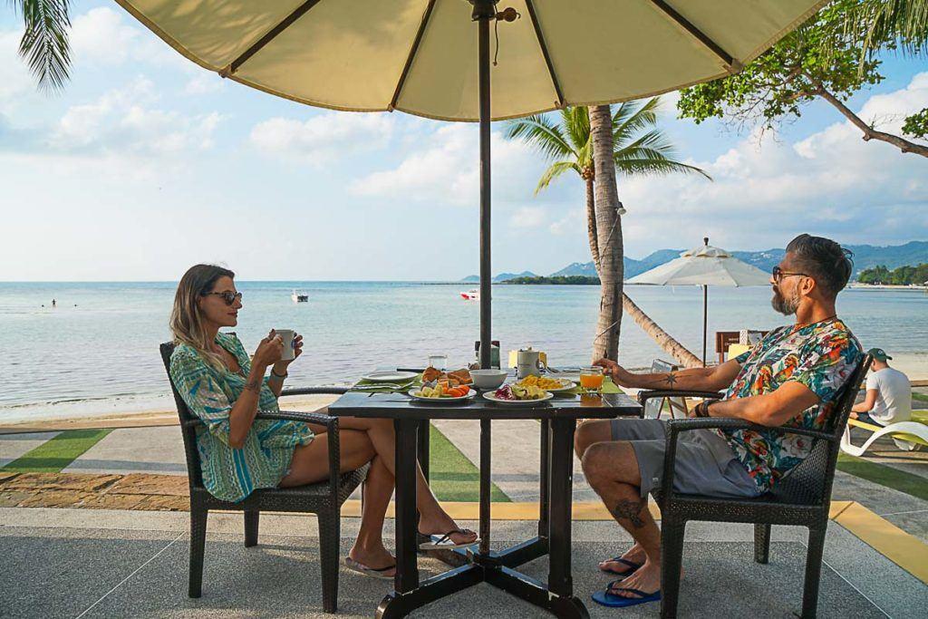A couple enjoying brunch or breakfast in Koh Samui.