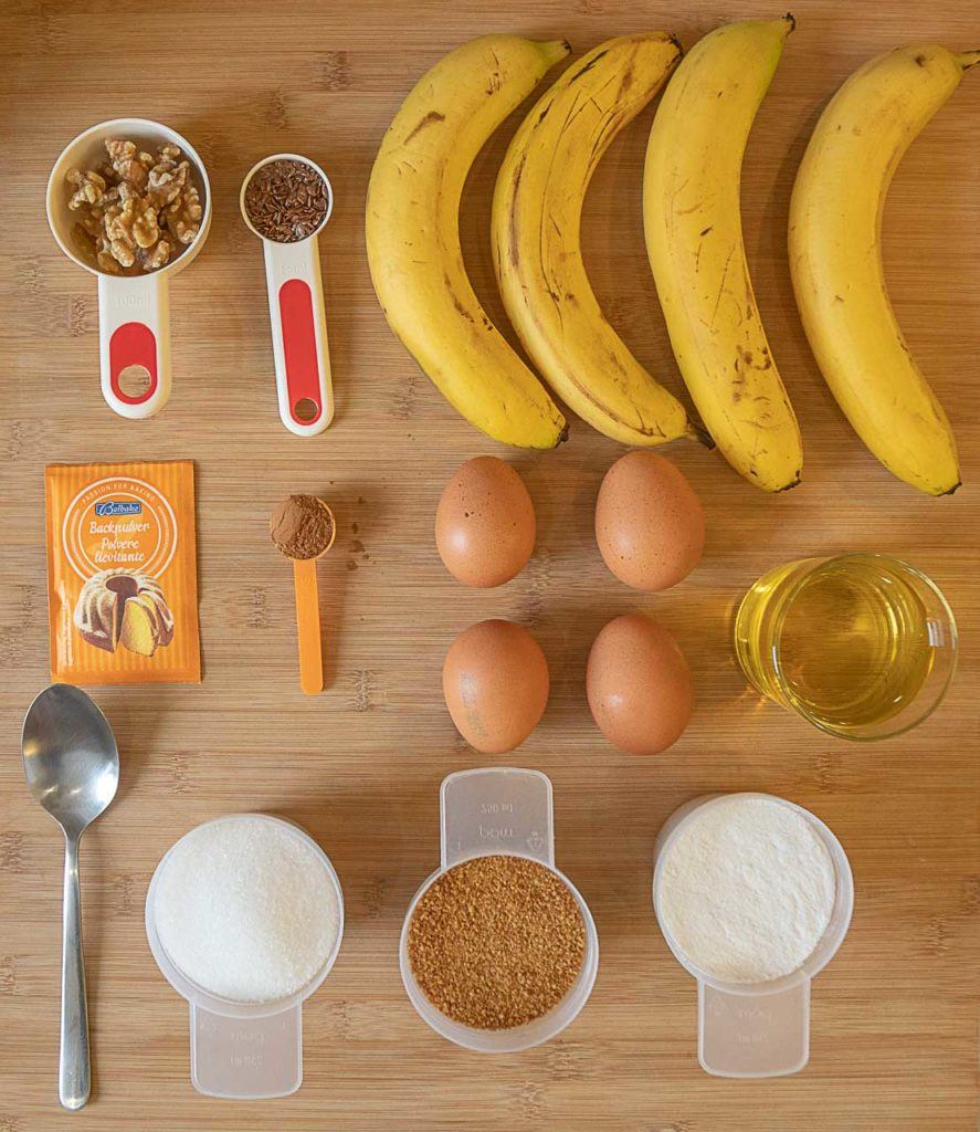 Gluten free Banana Cake ingredients.