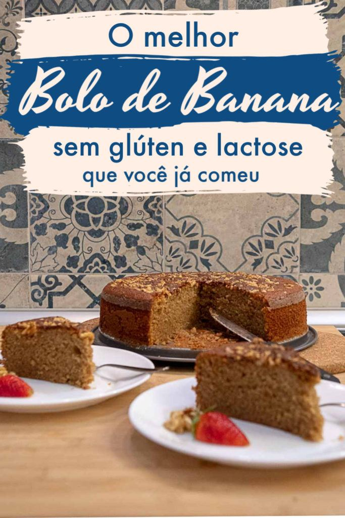 Prepare-se para o bolo de banana sem glúten e sem lactose mais gostoso do mundo, e super fácil e rápido de fazer já que é um bolo de banana de liquidificador fofinho e delicioso. A receita é feita com ingredientes básicos, substitui a farinha de trigo pela farinha de arroz, e não precisa usar leite nem manteiga. Perfeito para quem tem intolerância ao glúten, ou lactose. #bolodebanana #bolodebananadeliquidificador #bolodebananasemgluten #bolodebananasemleite #bolodebananasemfarinhadetrigo