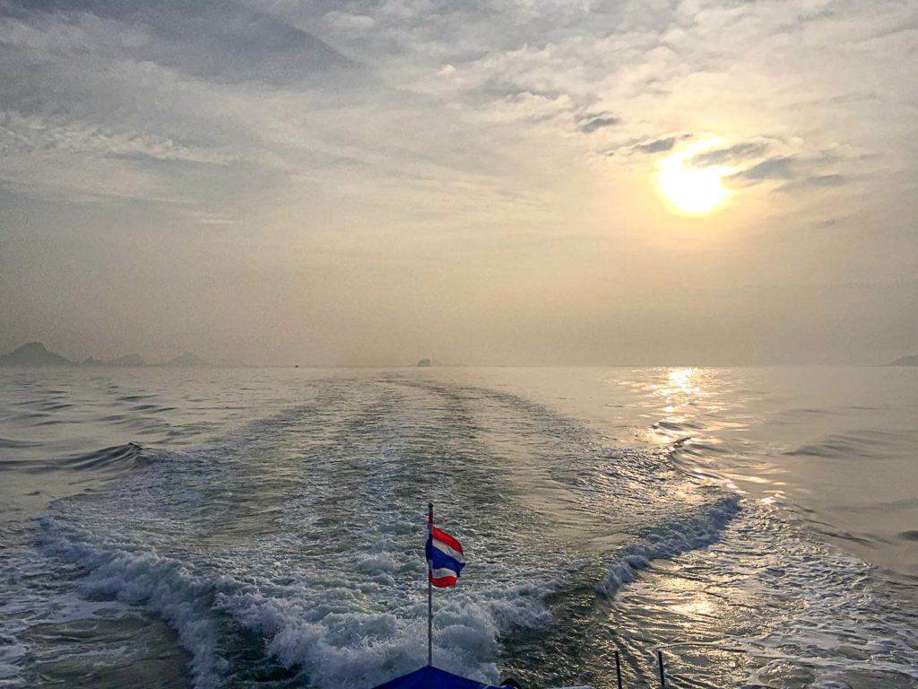 Boat cruising between the Thai Islands.