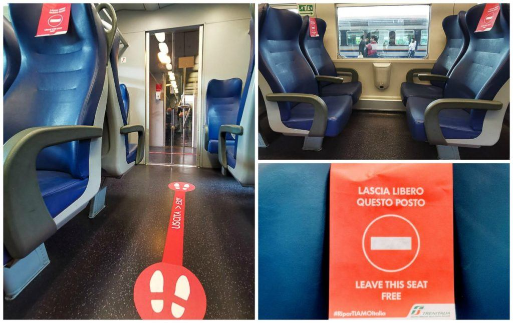 Photos from a train from Turin to Milan during Italy reopening for tourism.