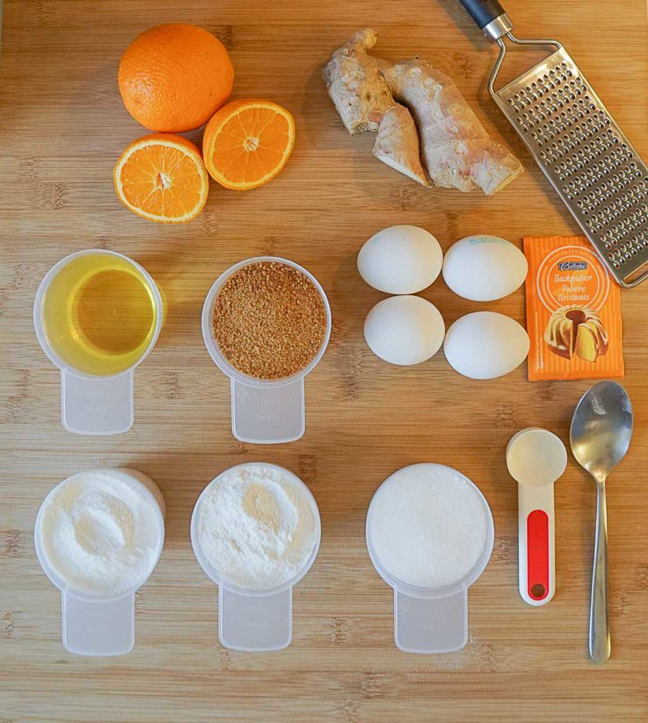 Orange, ginger, eggs... check out the ingredients for the gluten free orange cake.