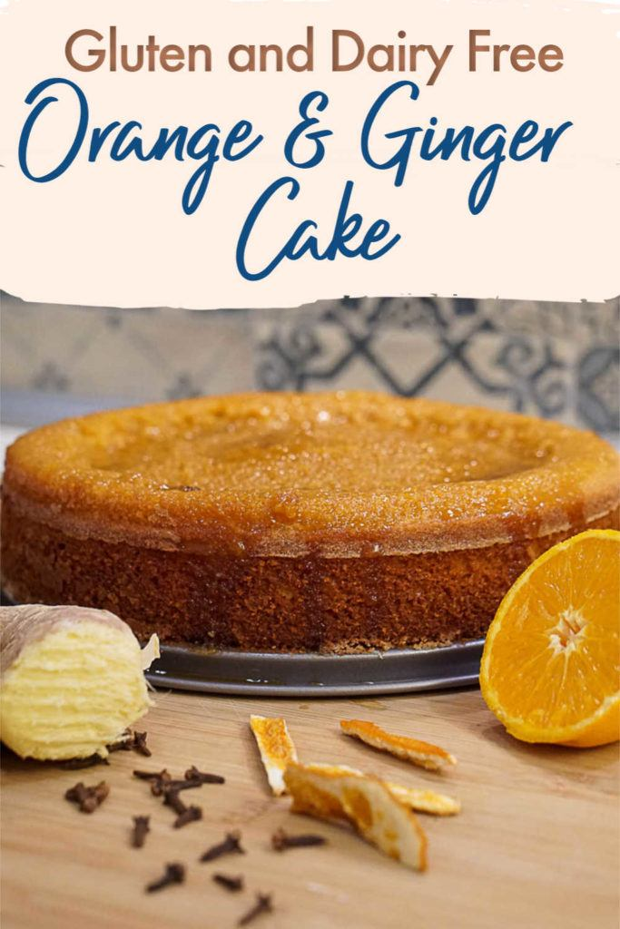 The best gluten-free orange cake you will ever bake. This orange cake recipe is gluten free and dairyfree with a lovely touch of ginger. This delicious gf orange cake is super fluffy and moist because it's made with fresh orange juice and rice flour. Not to mention the orange and ginger glaze that goes on top, yummy. #orangecake #gforangecake #glutenfreeorangecake #dairyfreeorangecake #orangecakerecipe #gforangecakerecipe
