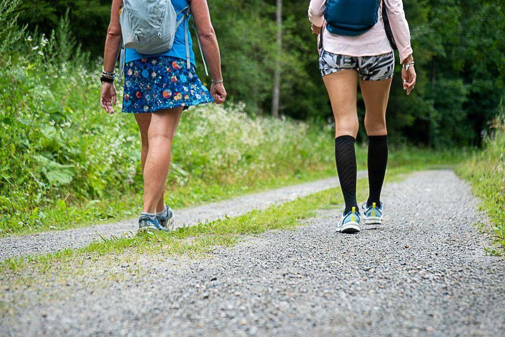 Two girls hiking in Graz region.