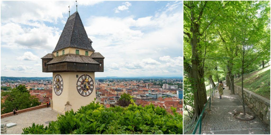 Schlossberg Hill is the easiest hiking/walk in Graz, you will have great views and can end your walk with a nice breakfast, lunch or a cold beer hilltop.