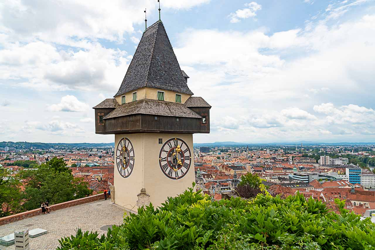 View at the Clock Tower and Schlossberg, in Graz.
