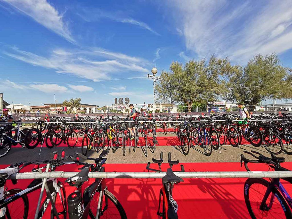 Many bicycles parked for the Ironman Cervia, Italy.