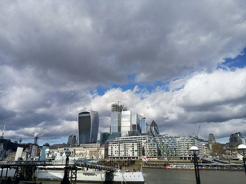 London Skyline during the day. All the information you need about the cost of a trip to the UK is in this complete travel guide.