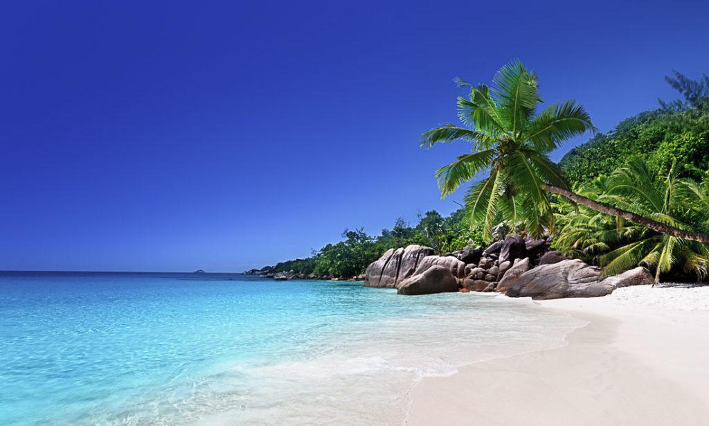Uma praia na Ilha de Praslin, Seychelles. Neste artigo sobre quanto custa uma viagem para Seychelles. Preços de comida, bebida, transporte, acomodação e atrações.