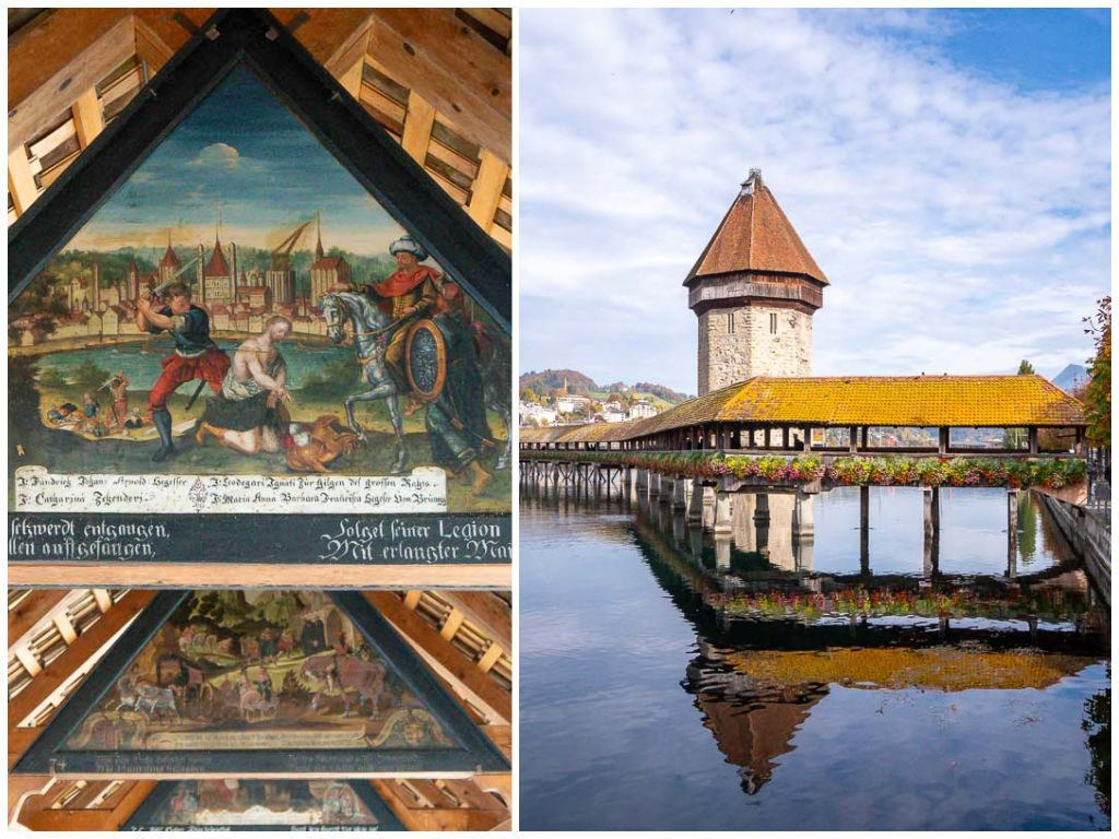 A collage of images of Chapel Bridge and its paintings in Lucerne, Switzerland.