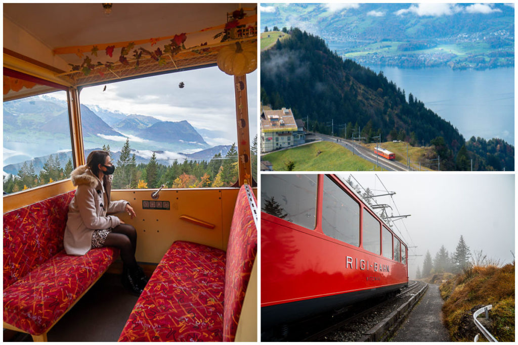 A collage of images of the cogwheel train, inside, outside and the view from it.