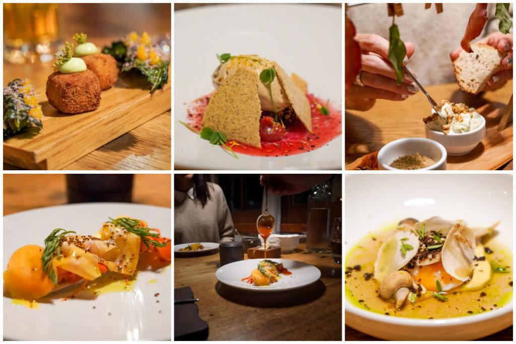 A collage of dishes from restaurant Regina Montium in Lucerne, Switzerland.