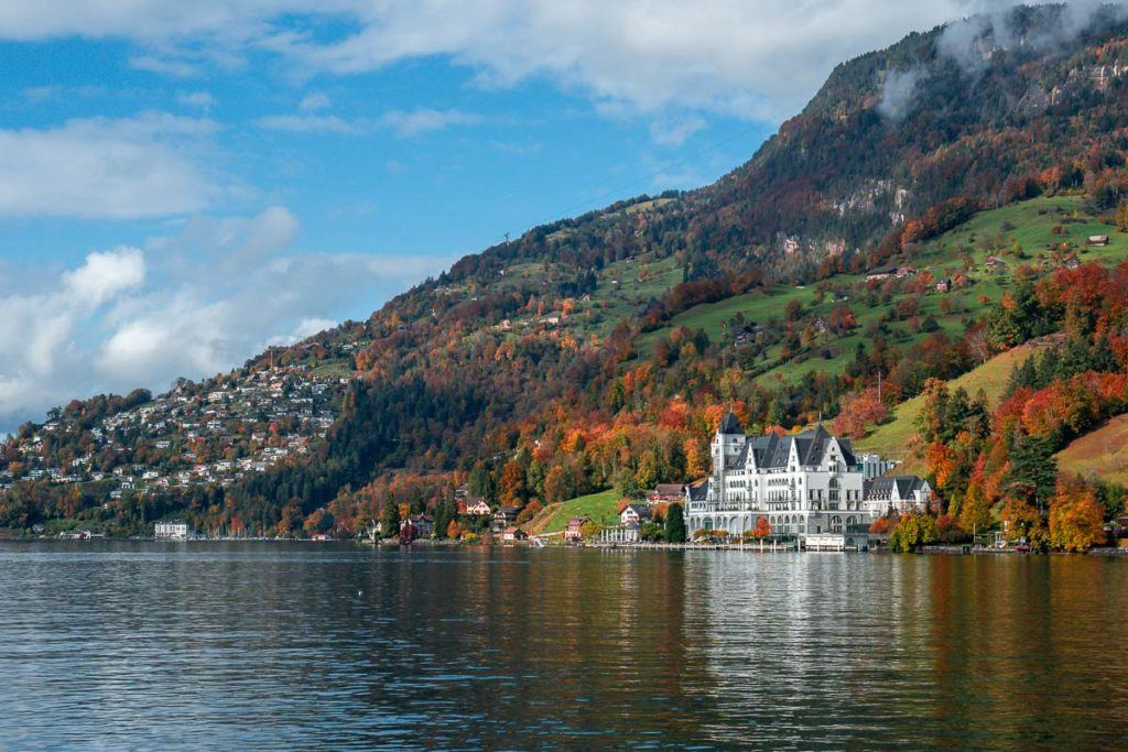 A panoramic view of Park Hotel Vitznau and Lake Lucerne, one of the best hotels in Switzerland.