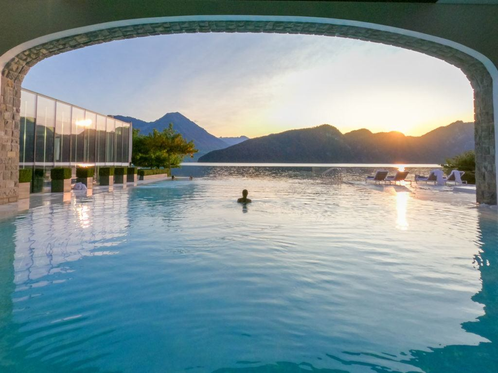 The infinity pool overlooking Lake Lucerne at Park Hotel Vitznau.