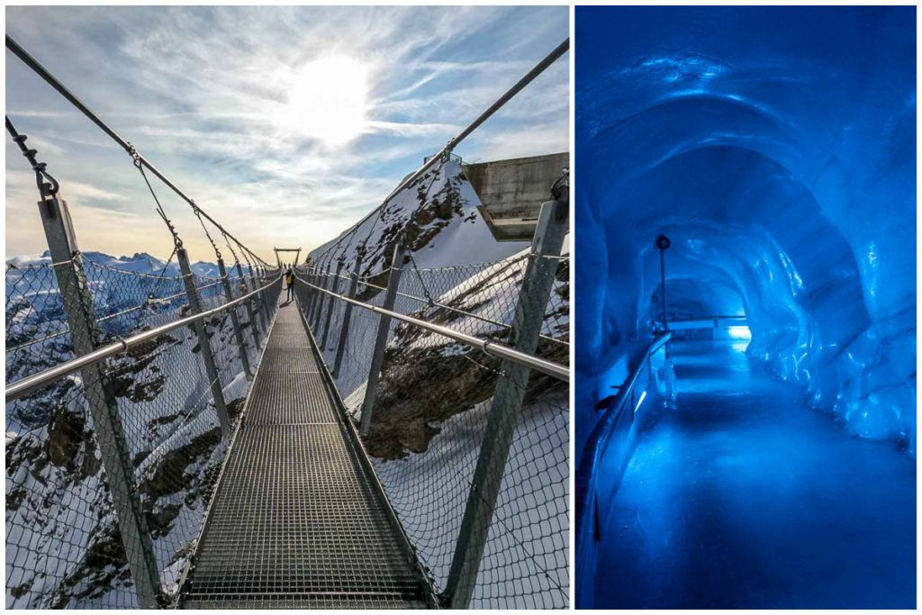 A collage of images of the suspended bridge and ice tunnels at Mt. Titlis, one of the best day trips from Lucerne.